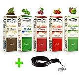 50ml E-Liquid - 5 Flaschen mit je 10ml Liquid für E-Zigaretten - inklusive ein kostenloses Nox24 Halsband (EGO) - ohne Nikotin - Set: (Mixed)