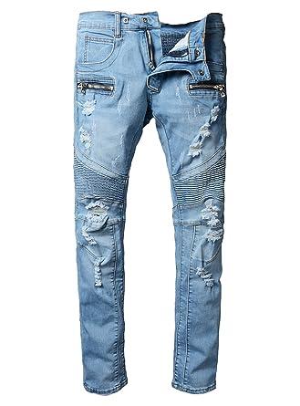 270a3418b716 Men s Straight Fit Ripped Slim Zipper Biker Jeans Stretch Blue Wash ...