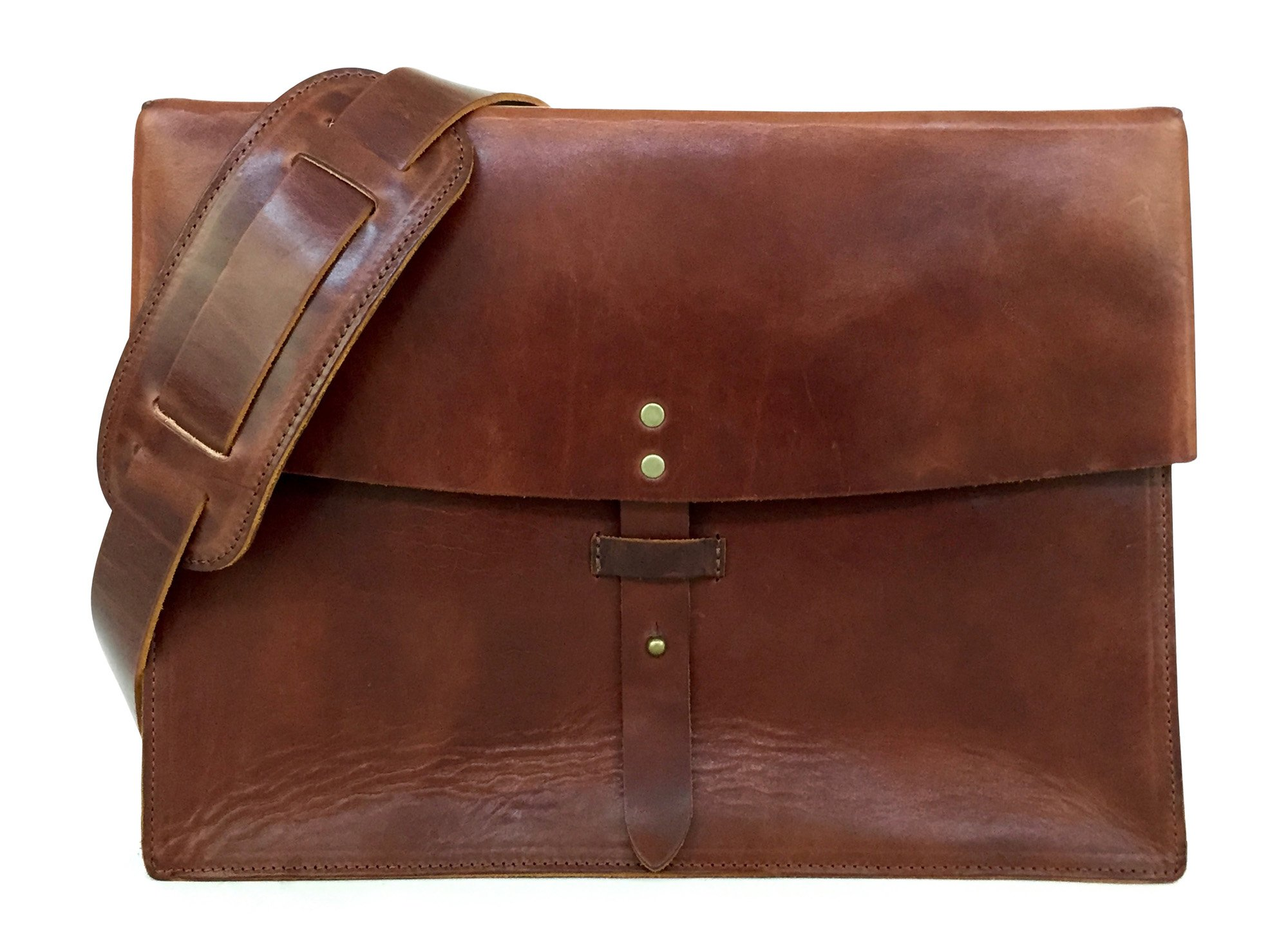Full Grain Leather Messenger Bag & Laptop Satchel by Jackson Wayne (Vintage Brown)