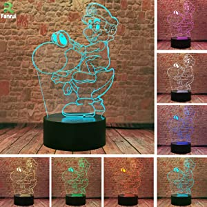 Fanrui Game Super Mario Bros - Ride a Yoshi Dinosaur Action Figure Lamp - 3D LED Bedroom Table Home Hot Decor - 7 Colors Night Light - Child Kids Baby Girls Toys - for Christmas Birthday Holiday Party