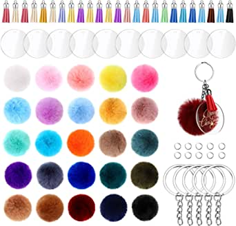 195 Pieces Pom Pom Keychain Fluffy Faux Fur Pompoms Keychain with Tassels and Keyrings Acrylic Discs for Bag Charm Accessories