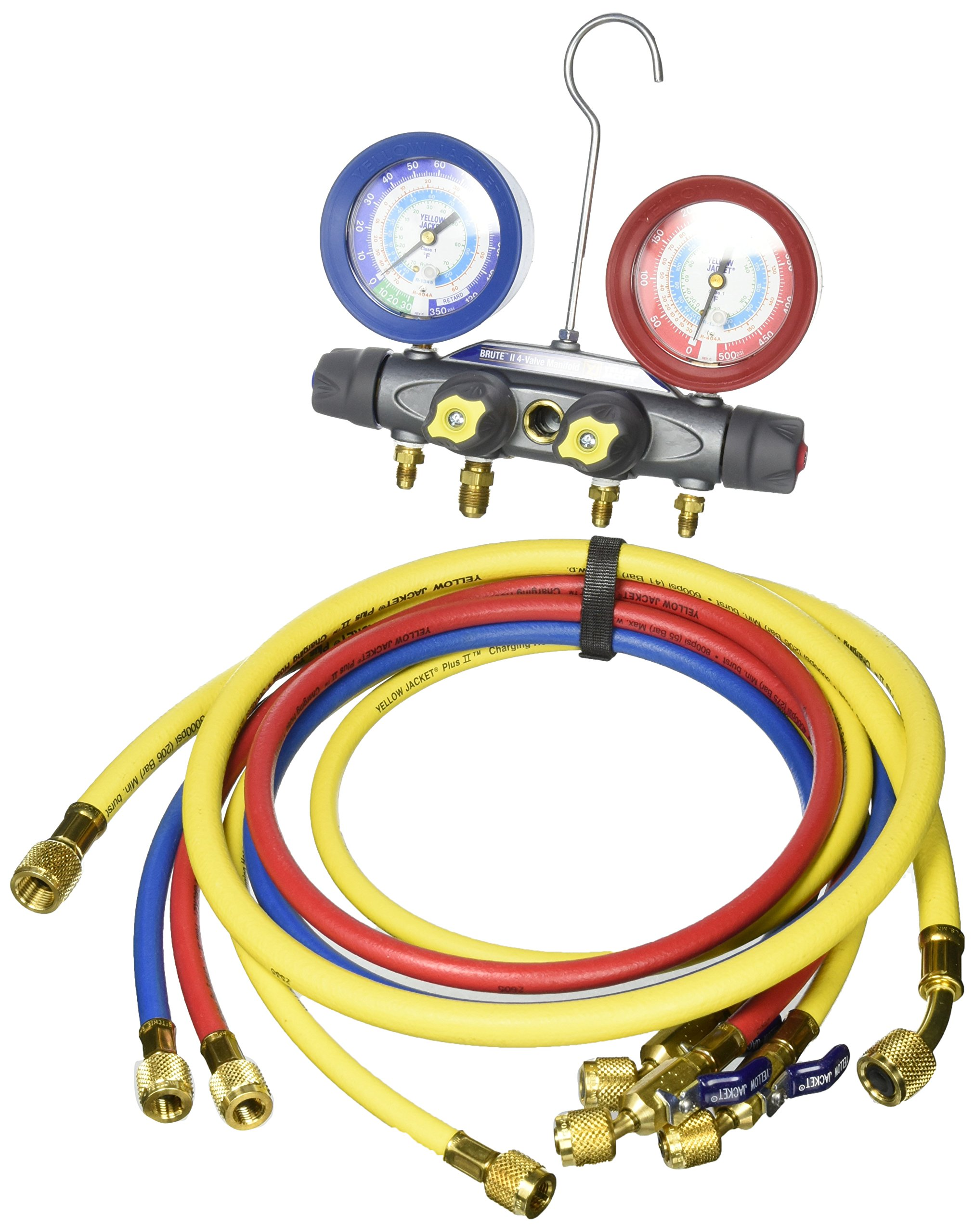 Yellow Jacket 46043 Brute II Test and Charging Manifold, F/C, psi, R-22/134A/404A, Red/Blue Gauge