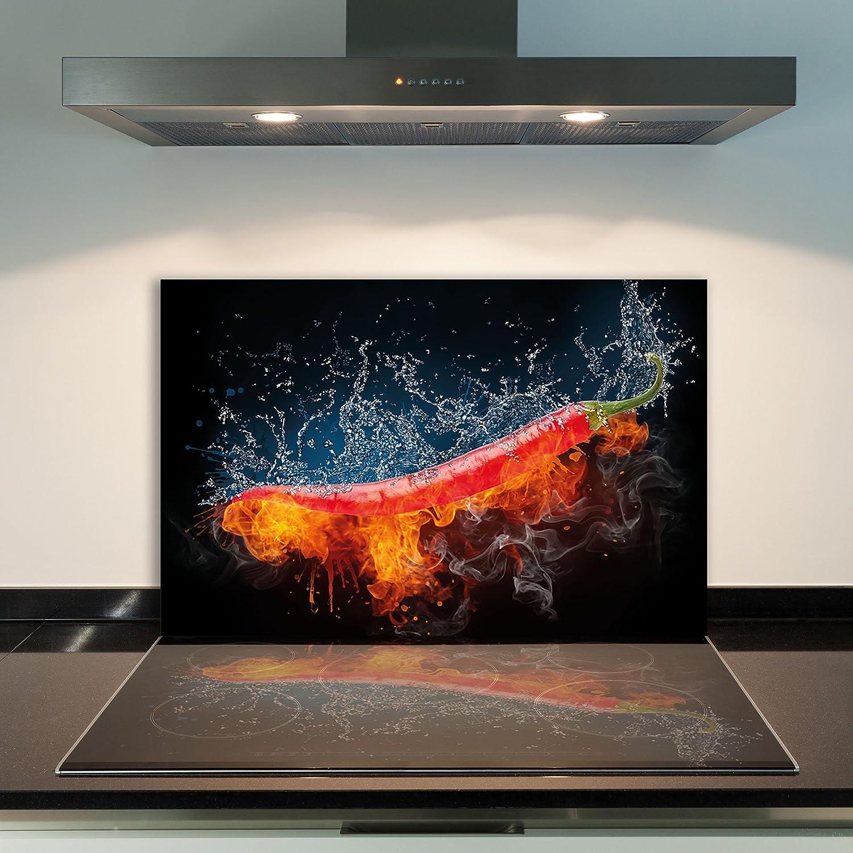 80x52cm brennende Heiße Wallario Herdabdeckplatte 1-teilig aus Glas
