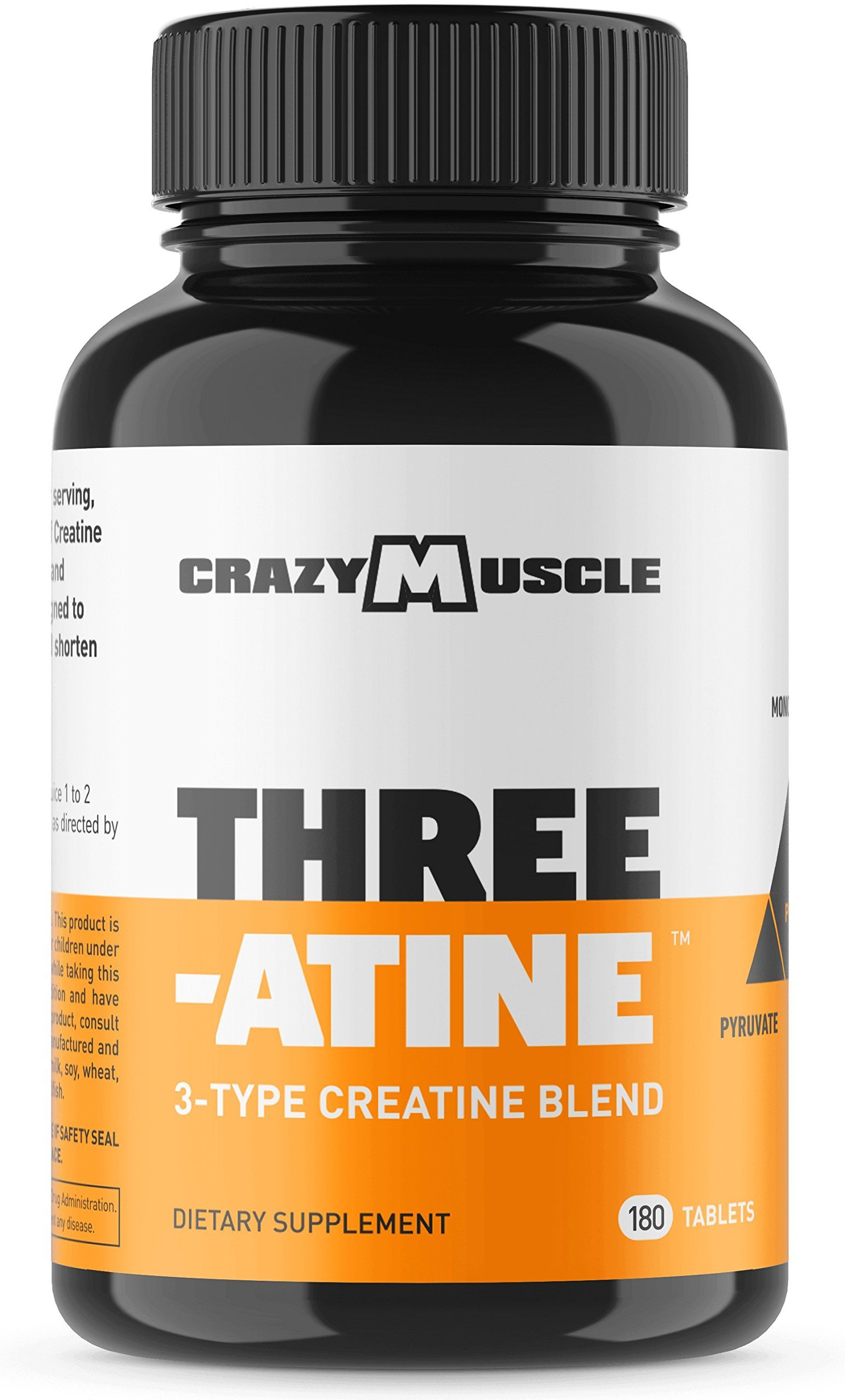 Creatine Monohydrate Pills (2 Month Supply) 5,000mg Per Serving - 180 Capsules - Muscle Gain Supplement with Over 5g of Monohydrate, Pyruvate + AKG - Optimum Strength Creatine Tablets