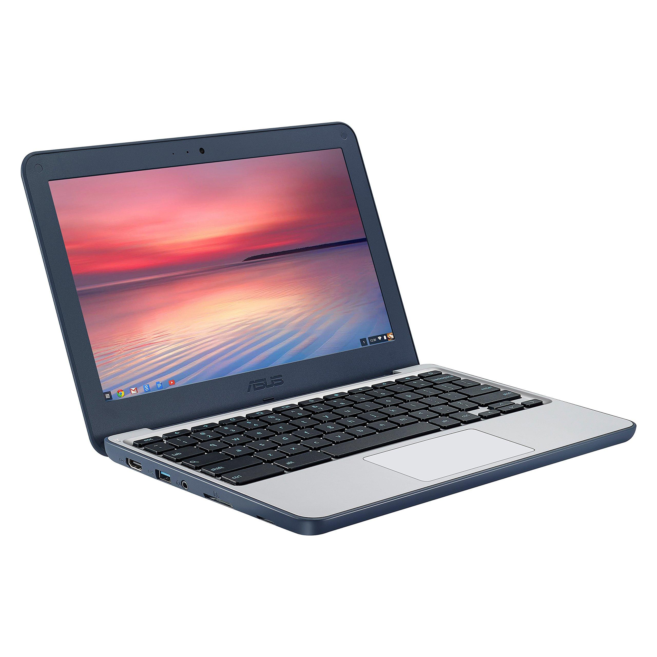 ASUS Chromebook C202SA-YS04 11.6'' Ruggedized and Water Resistant Design with 180 Degree Hinge (Intel Celeron 4GB RAM, 32GB eMMC, Dark Blue) and AmazonBasics 11.6-Inch Laptop Sleeve