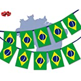 Brazil Full Flag Patriotic Themed Bunting Banner 12 Rectangular flags for guaranteed simply stylish party National Royal decoration by PARTY DECOR