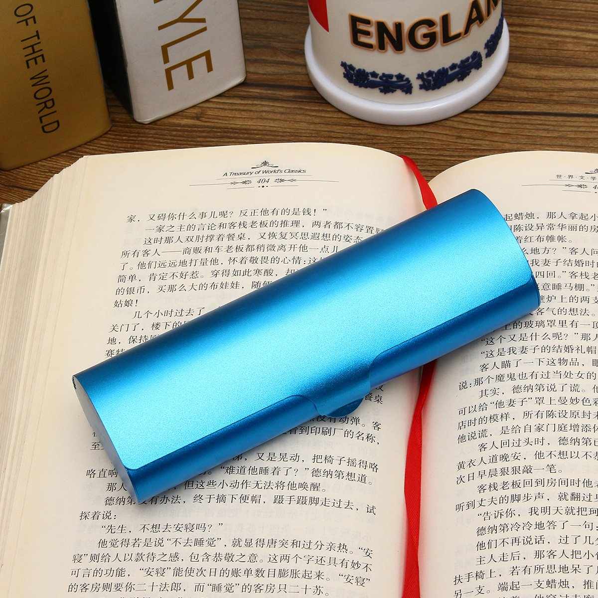 UNAKIM-Matte Slim Hard Metal Glasses Protection Reading Eyeglasses Case Spectacles Box (blue)
