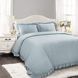 Lush Decor Lake Blue Reyna Comforter Ruffled 3 Piece Set with Pillow Sham King Size Bedding