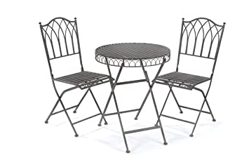 Captivating Greenhurst 2 Seater Metal Elegant Versailles Folding Patio Set With Round Bistro  Table In Antique Grey