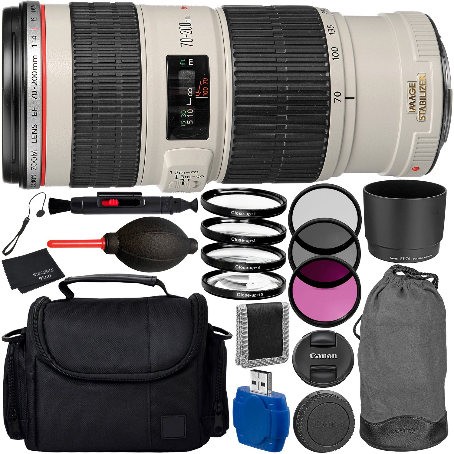 Canon EF 70-200mm f/4L IS USM Lens Bundle with Manufacturer Accessories & Accessory Kit for EOS 7D Mark II, 6D Mark II, 5D Mark IV, 5D S R, 5D S, 5D Mark III, 80D, 70D, 77D, T5, T6, T6s, T7i, SL2 by Canon