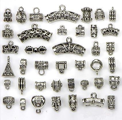 Mix Tibetan Silver Connectors Bails Beads fit Charm European Bracelet Pendant