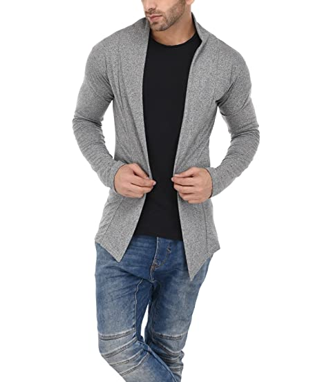 63fc82d955627 DENIMHOLIC Mens Cotton Blend Cardigan (Grey, Small). Roll over image to  zoom in