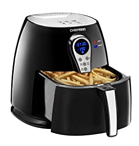 Chefman 2.5 Liter/2.6 Quart Air Fryer with Digital Display Adjustable Temperature Control for the Perfect Result in Frying a Variety of Foods, BPA Free, Cool-to-Touch Exterior, Black