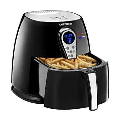 Chefman 2.5 Liter/2.6 Quart Air Fryer with Digital Display Adjustable Temperature Control for the Perfect Result in Frying a Variety of Foods, BPA Free, Cool-to-Touch Exterior,