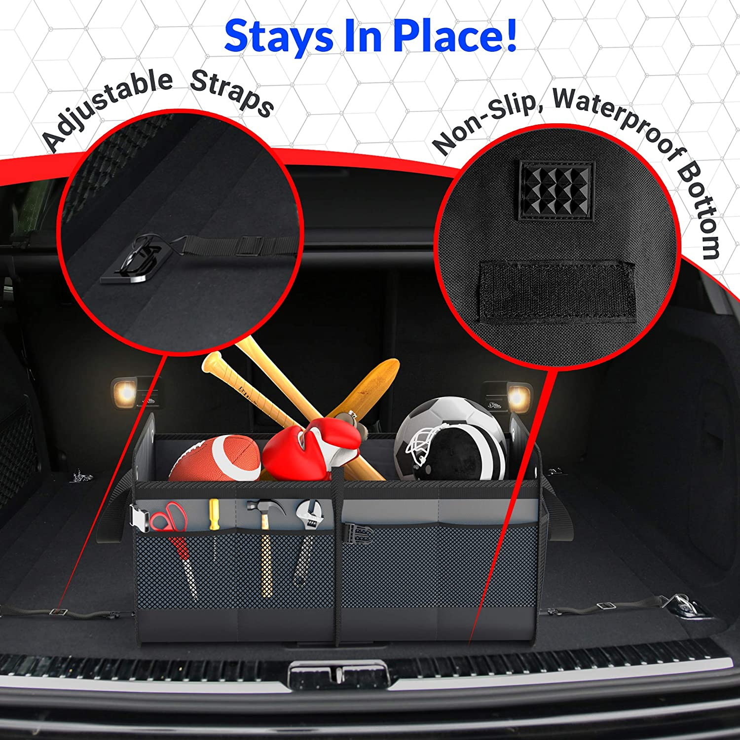 Straps and Non-Slip Bottom Strips to Prevent Sliding Car Trunk Organizer by FORTEM Heavy Duty Collapsible Cargo Storage Bonus Micro Fiber Towels Grey Foldable Cover 100/% Waterproof Bottom