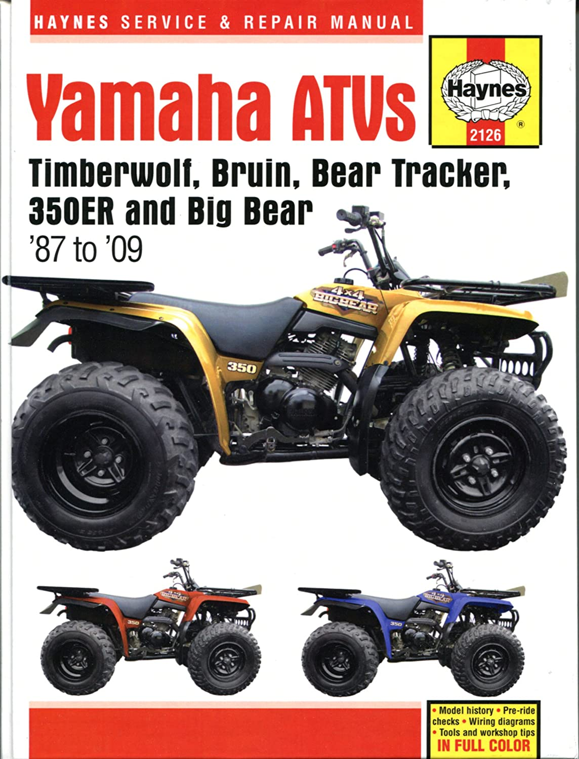 wiring haynes manual 2126 yamaha atv yfm350 & yfm400 (er and big bear)  87 on