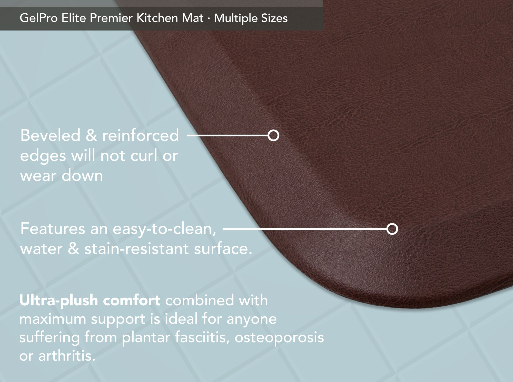 "GelPro Elite Premier Anti-Fatigue Kitchen Comfort Floor Mat, 20x36"", Vintage Leather Sherry Stain Resistant Surface with therapeutic gel and energy-return foam for health & wellness by GelPro (Image #4)"