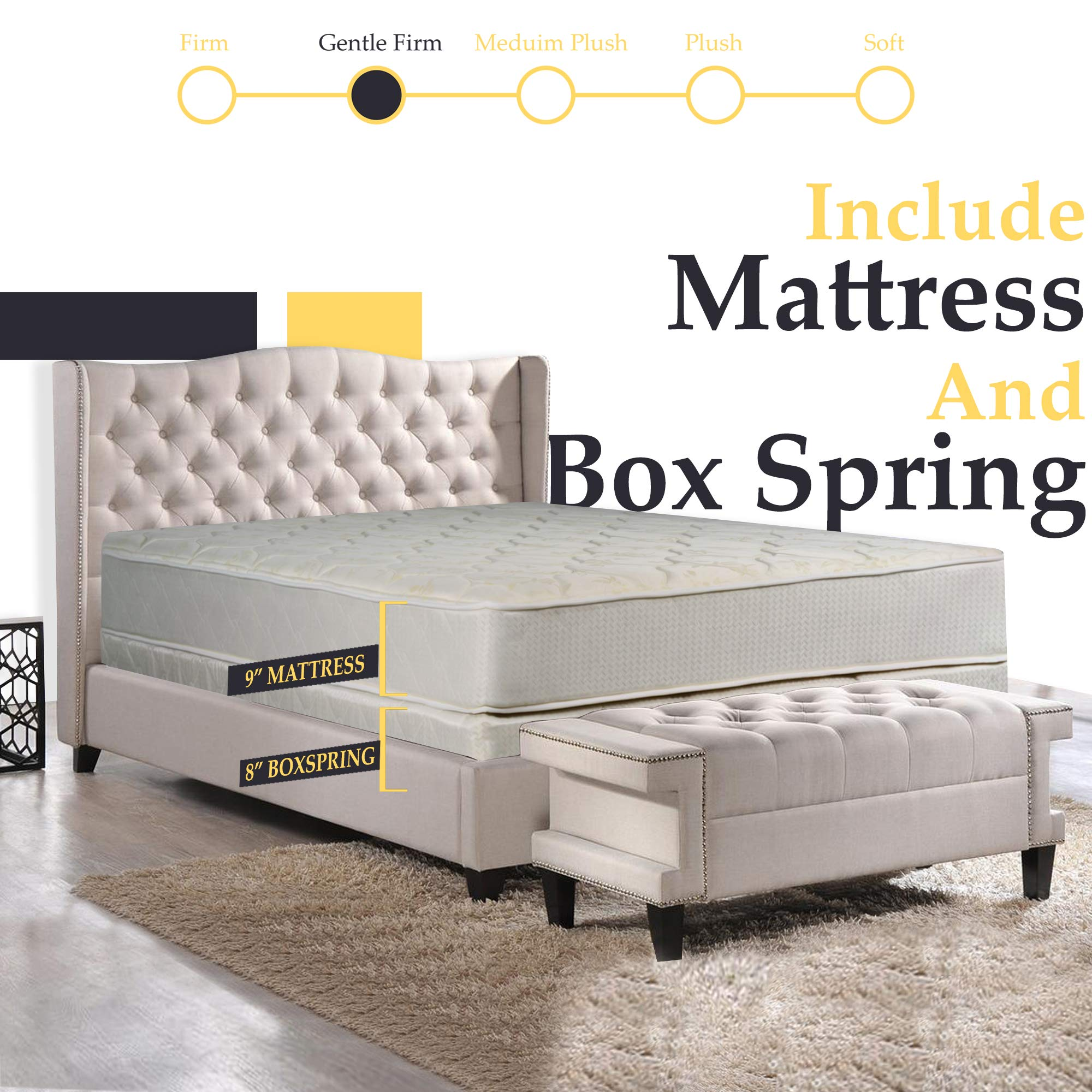 Nutan9-InchGentle FirmTight top Innerspring Mattress And 8-Inch Fully Assembled Wood Boxspring/foundation SetTwin by Nutan