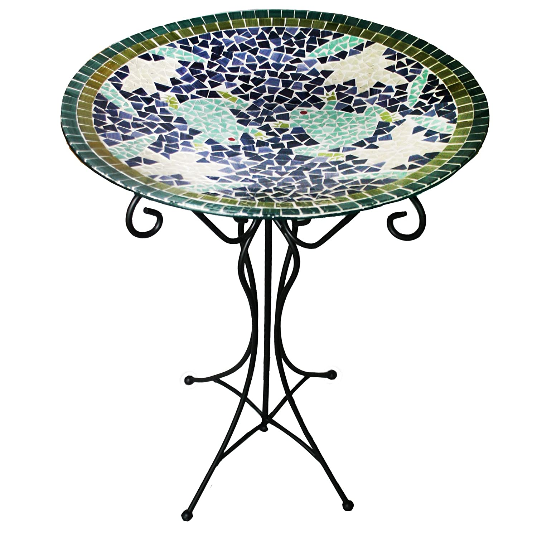 Frog Design Gardener's Select Mosaic Glass Bird Bath and Stand, Frog Design