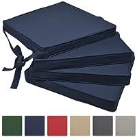 Beautissu Loft SK Stuhlkissen 4er Set - Bequemes Sitzkissen für Stühle 45x40x5 cm - Mit Befestigungsschleife - verschiedene Farben