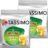 Tassimo Twinings Green Tea & Mint, Pack of 2, 2 x 16 T-Discs