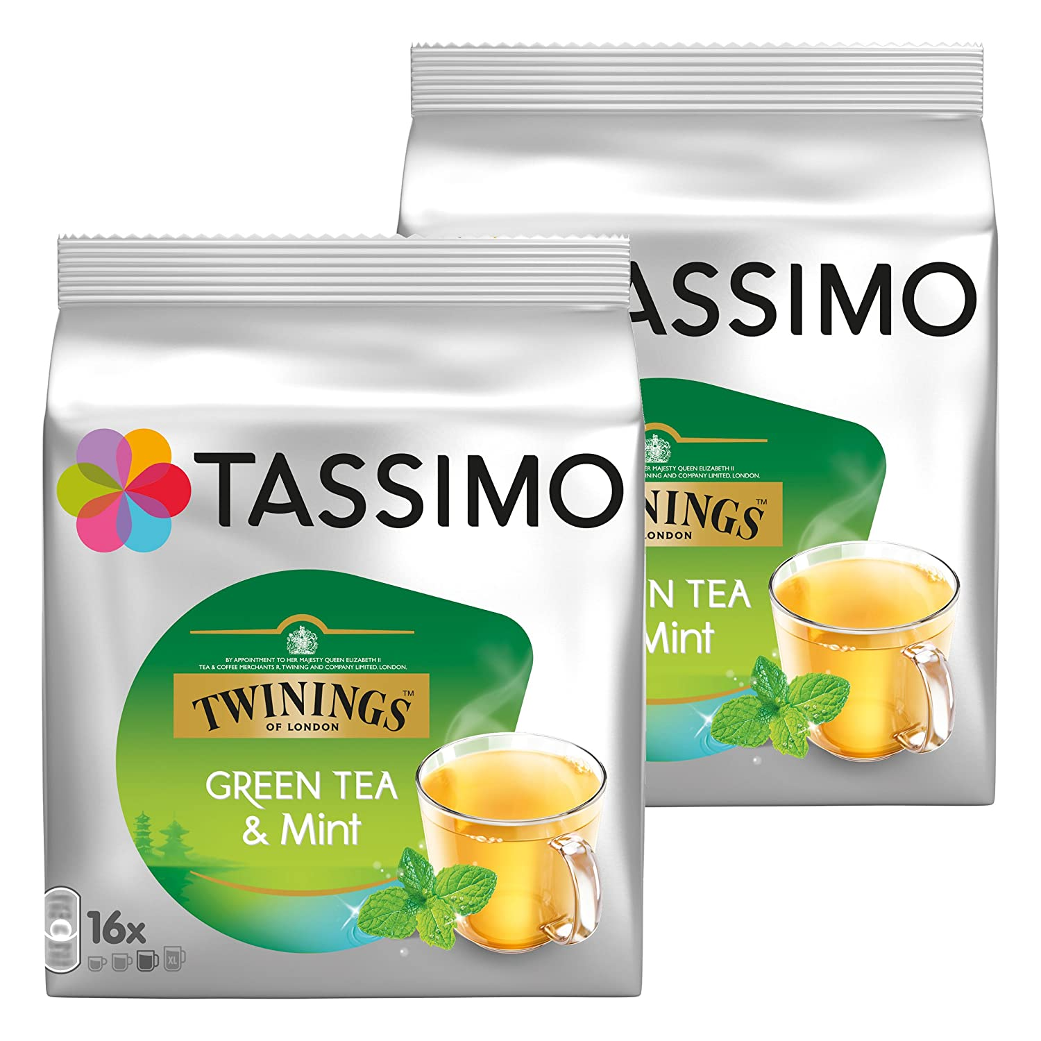 Tassimo Twinings Green Tea & Mint, Pack of 2, 2 x 16 T-Discs