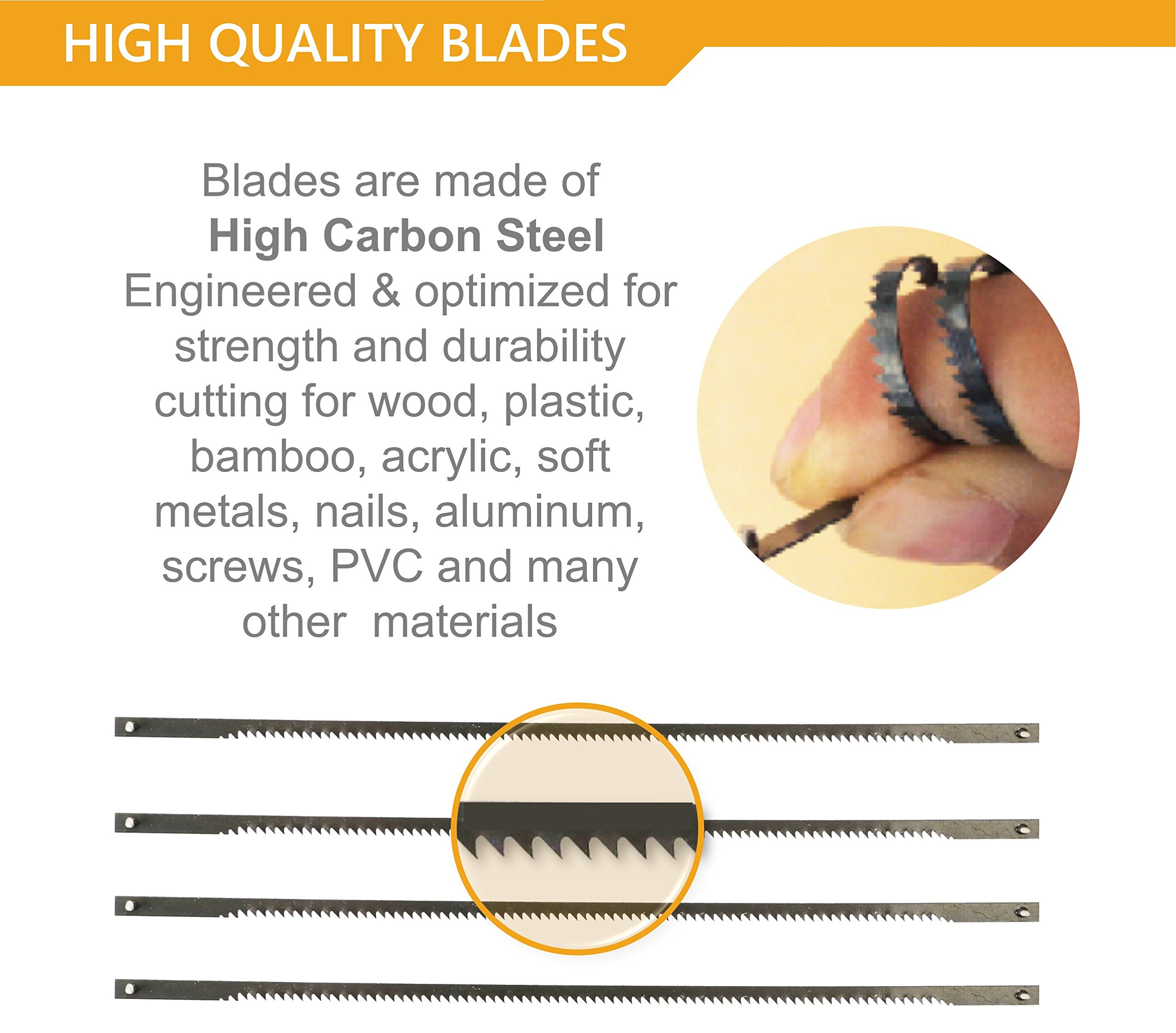 Original Magic Coping Saw with 6 inch High Carbon Steel Pins Blades, a Heavy Duty H shape Metal Frame Works as Fret Saw, Hacksaw, and Pruning Saw & Suitable to Cut Wood, Plastic, PVC, Aluminum, Nails by Amazing Tools (Image #6)
