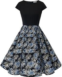 3d05a8997043 Homrain Women's Vintage 1950s Cap Sleeve Patchwork Cocktail Swing Party  Dress