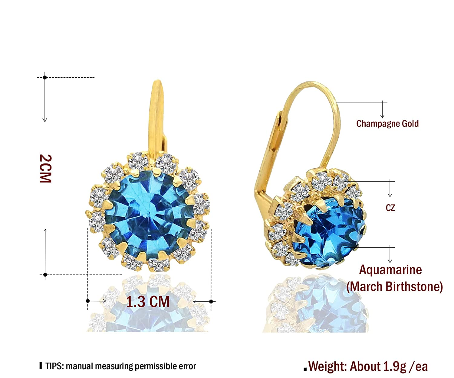 August - Light Green eGalaxyPrime 14k Gold Plated Round Cut Birth Month Birthstone Earrings with CZ Cubic Zirconia