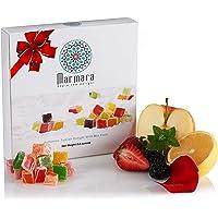Turkish Delights Mini Mix Fruits Authentic Handmade with Lemon Tangerine Satsuma Blackberry Mint Strawberry Rose Sweet Confectionery Gourmet Box Candy Dessert 20-30 Small Treats 8.8 Oz by Marmara
