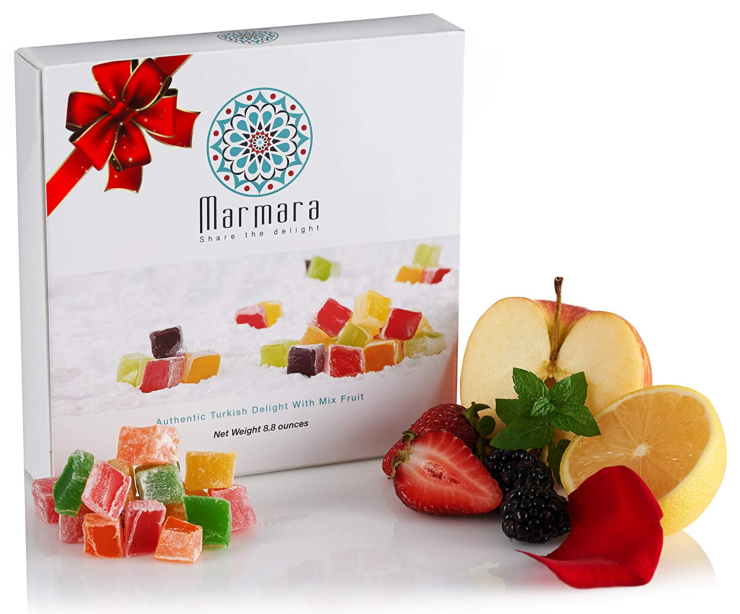 Marmara Authentic Mini Turkish Delight with Mix Fruits / Sweet Confectionery Gourmet Box Candy Dessert 250 Grams