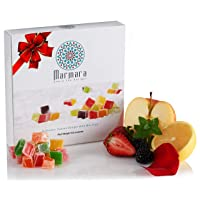 Turkish Delights Mini Mix Fruits Authentic Handmade with Lemon Tangerine Satsuma Blackberry Mint Strawberry Rose Sweet Confectionery Gourmet Box Candy Dessert 20-30 Small Treats 8.8 Oz by Marmara