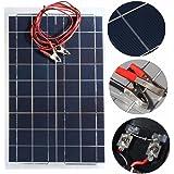 MOHOO 30 w 12 v ソーラーパネル 太陽光パネル 太陽光発電パネル ワニ口 クリップ 付き