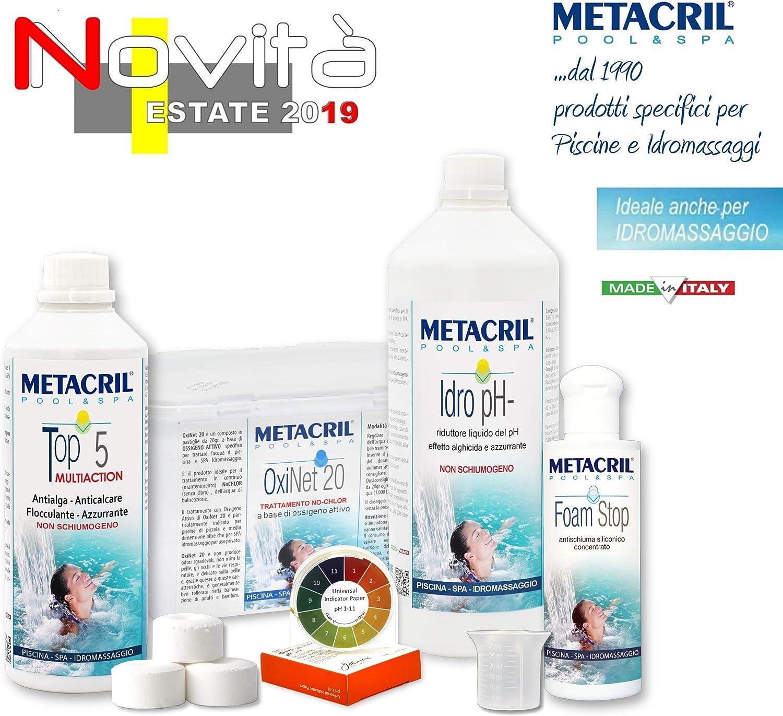 Metacril Easy Kit OXI para hidromasajes y Piscinas. Tratamiento Completo a Base de oxígeno (sin Cloro) en Pastillas de 20 g. Ideal para Jacuzzi, Intex, Bestway, Dimhora. Envío inmediato.