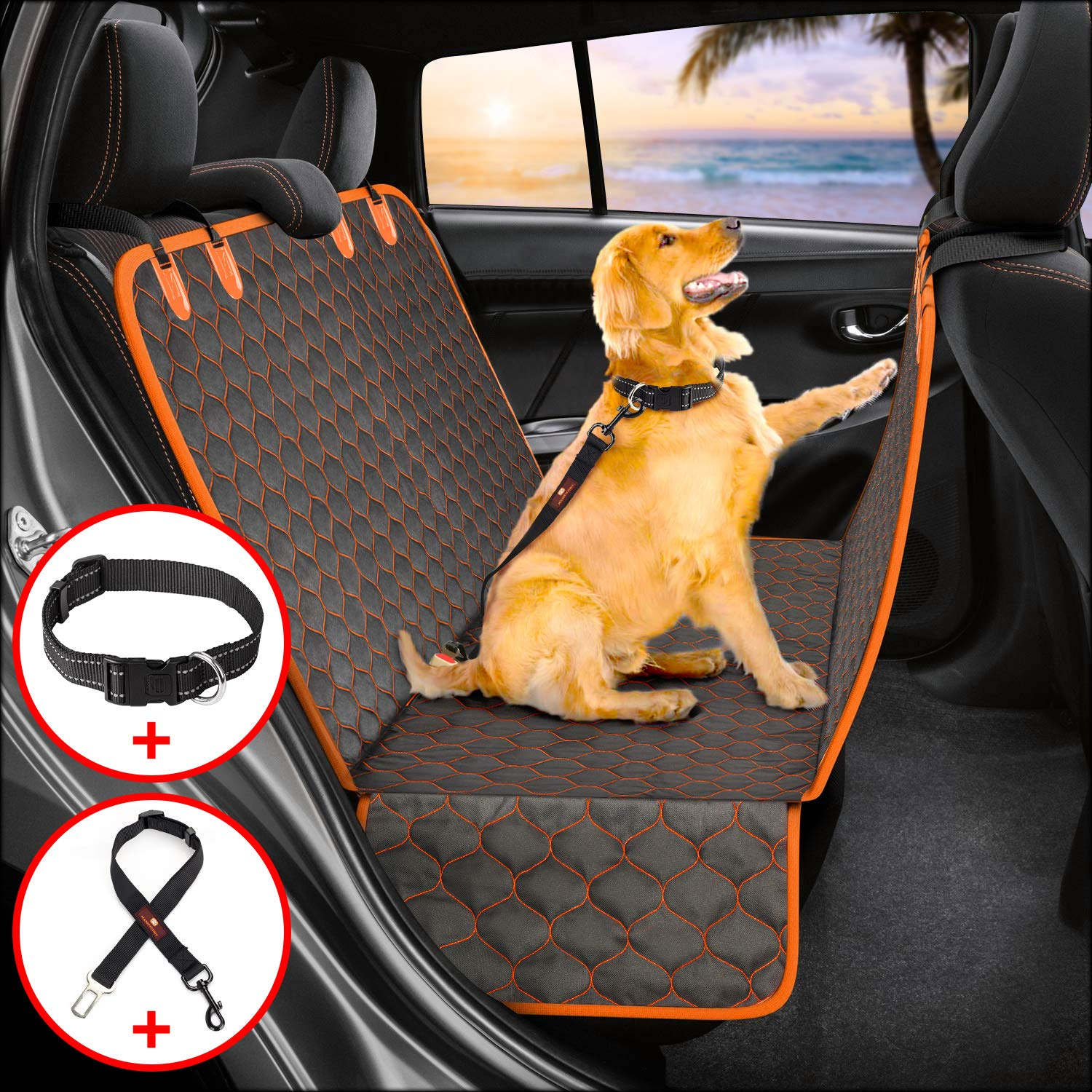 Manificent Dog Car Seat Covers, Nonslip Pet Seat Cover, Hammock 600D Heavy Duty Waterproof Scratch-Proof Thicken Dog Seat Covers Fits Most Cars, Trucks, SUVs (Seat Belt& Dog Collar Included) by Manificent