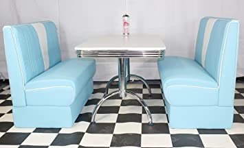 Just Americanacom American Diner Furniture 50s Style Retro White Table Blue  Nashville Booth Set