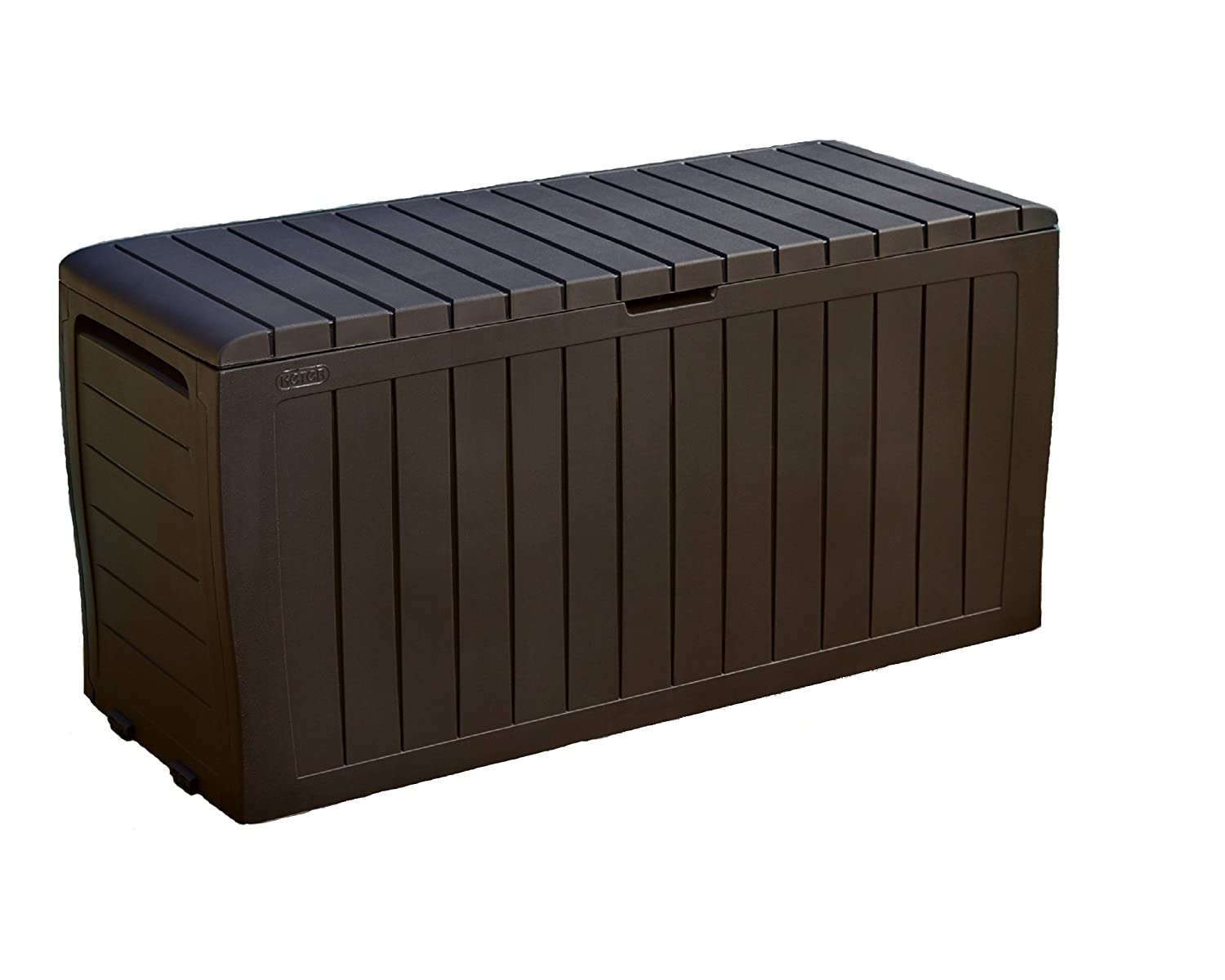 Keter Marvel Plus 71 Gallon Resin Plastic Wood Look All Weather Outdoor Storage Deck Box, Brown 230623