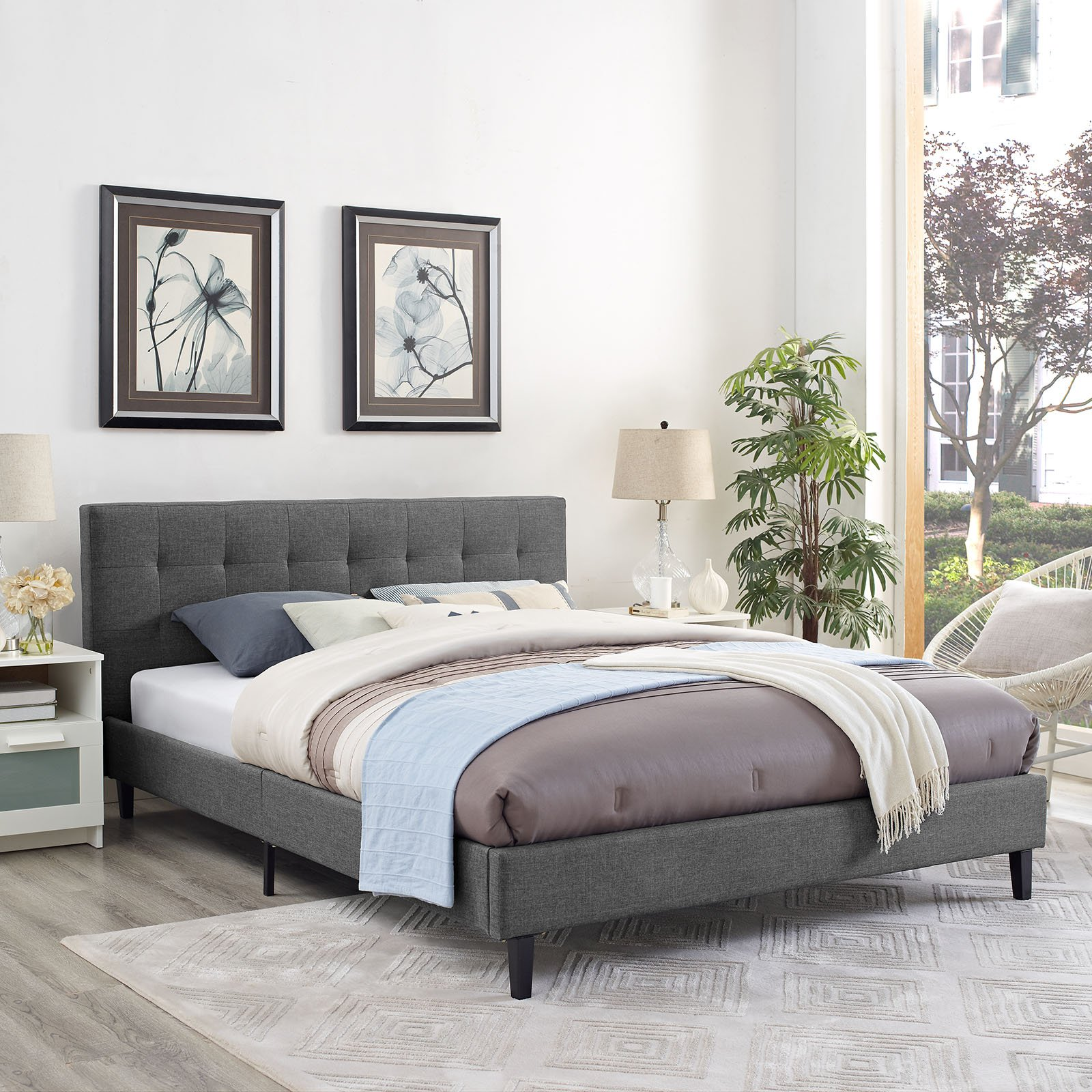 Modway Linnea Fabric Bed, Queen, Gray by Modway