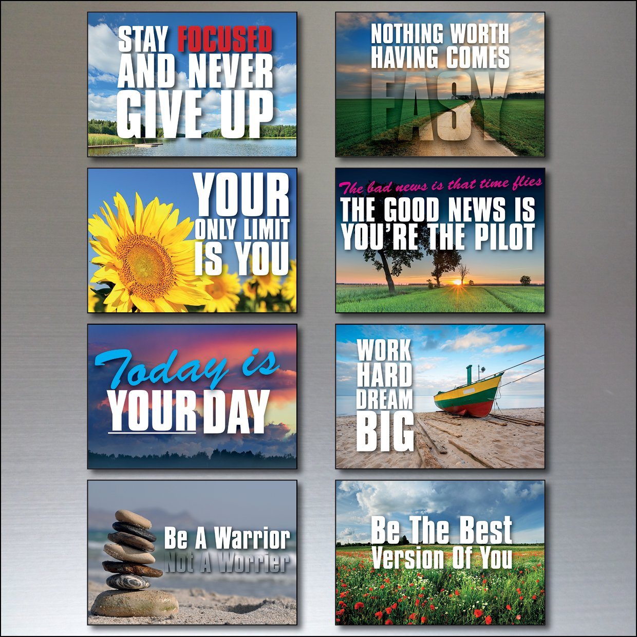 Set 0f 8 Motivational and inspirational quotes Fridge Magnets No.2