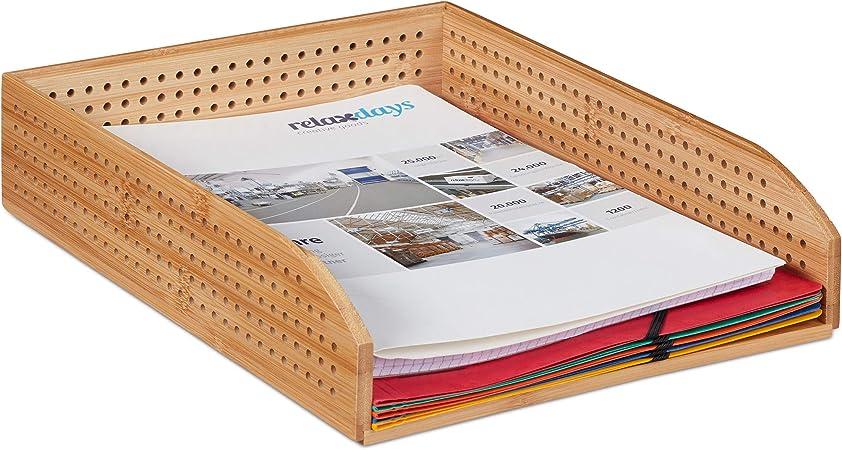 Relaxdays Vaschetta Portadocumenti,Scrivania Ufficio /& Studio,Formato A4,Vassoio Portalettere,bamb/ù Marrone 6x25x33 cm