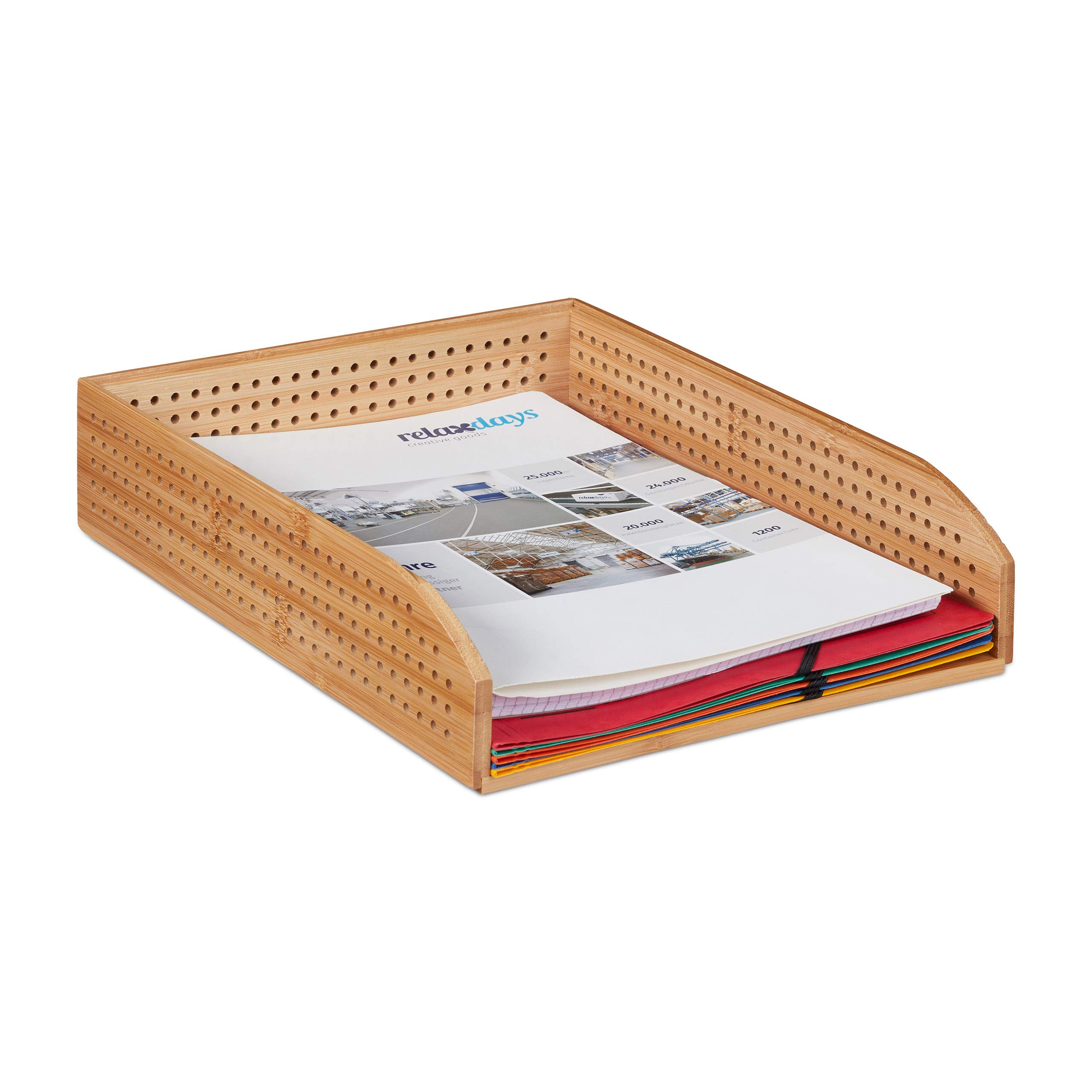 Relaxdays Bamboo Document Holder Tray, Perforated, Stackable, A4, Desk Organizer, Office, Natural, HWD: app. 7 x 25 x 33 cm