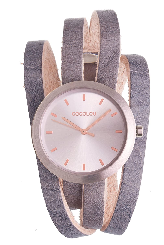 COCOLOU Damenuhr - Uhr - wechselbares Lederarmband - Wickeluhr - Leder Kairo