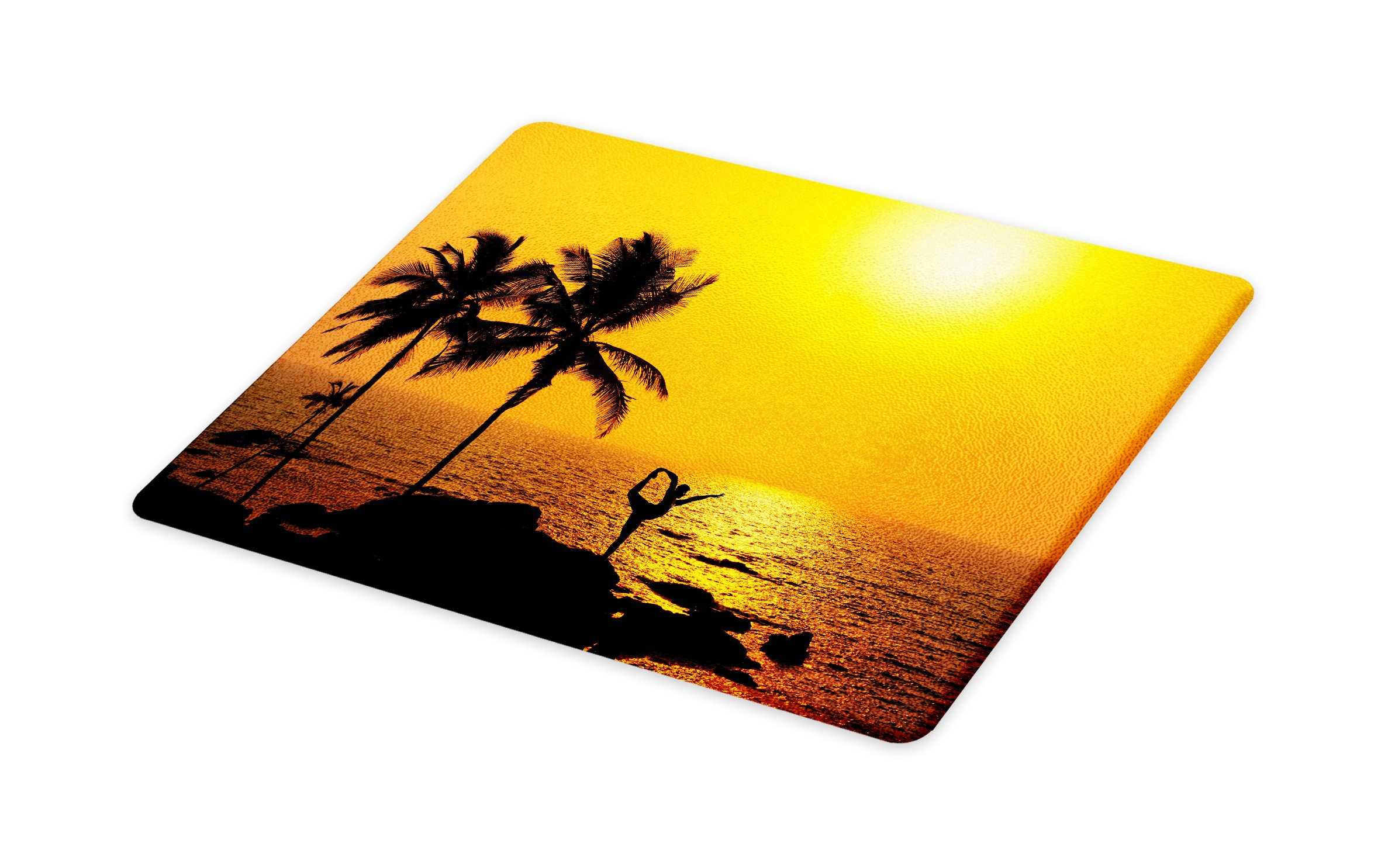 Lunarable Yoga Cutting Board, Yoga Dance Move Dancer Balancing Pose Palm Tree at Ocean Sunset Background, Decorative Tempered Glass Cutting and Serving Board, Small Size, Dark Brown Marigold by Lunarable (Image #1)