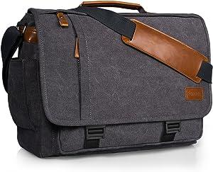 Estarer Computer Messenger 17-17.3 Inch Water-resistance Canvas Laptop Shoulder Bag for Travel Work College New Version