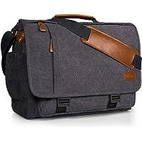 Estarer 17.3 inch Laptop Messenger Bag,Mens Water Resistant Canvas Satchel Briefcase,Padded Computer Shoulder Bag for Work (17.3 Inch with Buckles)
