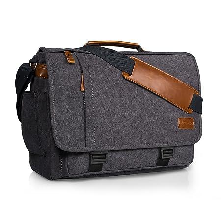 Estarer Laptop case 17 17.3 inches Shoulder Bag Canvas for Work Plain Gray   Amazon.co.uk  Luggage 620c54b532fc2