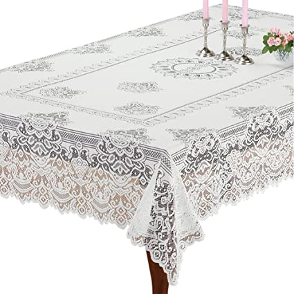 Superieur Amazon.com: Collections Etc Elegant White Lace Tablecloth/Table Overlay,  Scalloped Edge, For Living Room Or Dining Room, Rectangle: Home U0026 Kitchen