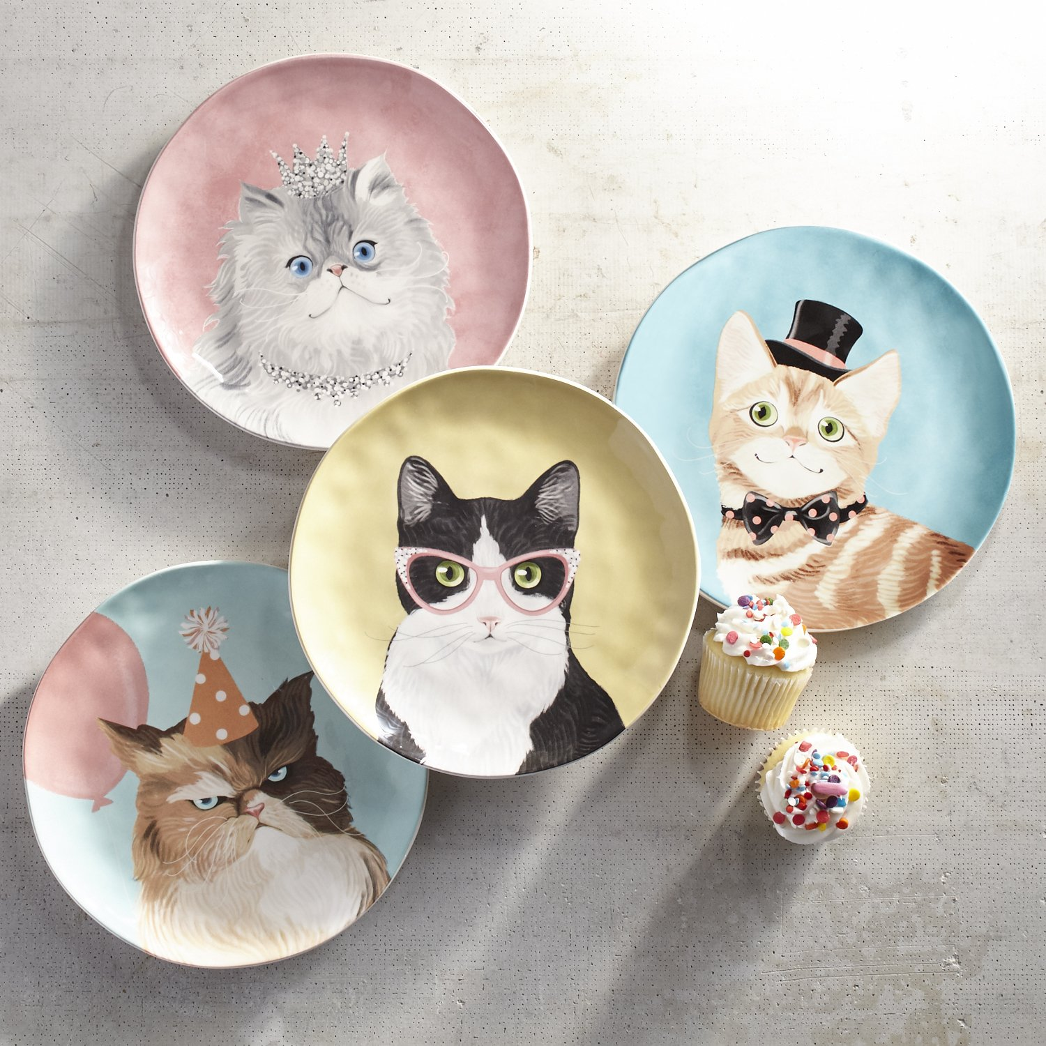 Party Cats Salad Plate Set of 4 by Pier 1 Imports