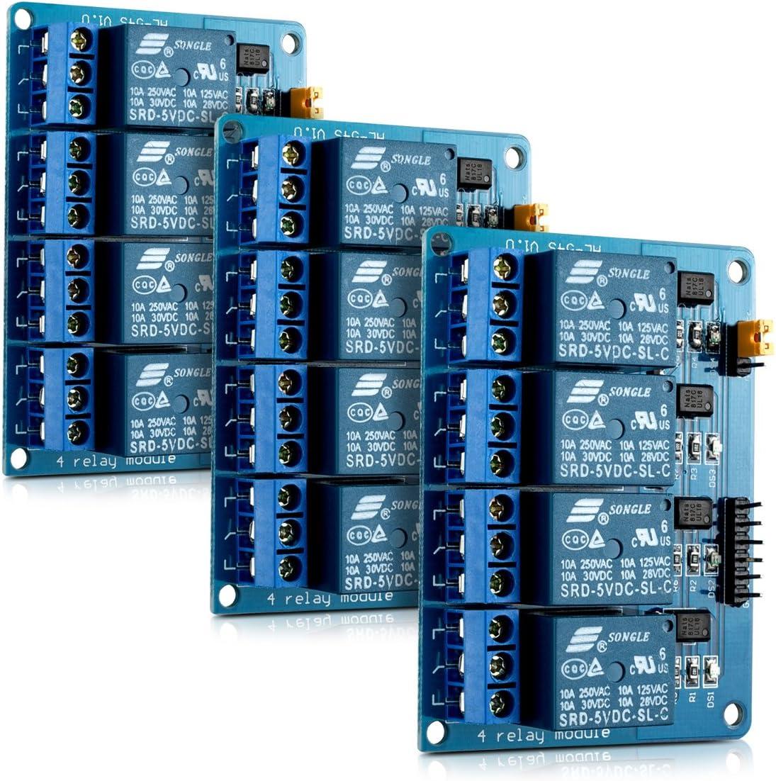 kwmobile 3X Módulo de relé 5V para Arduino con 4 Canales - Set de 3 módulos de relés para Arduino con optoacoplador