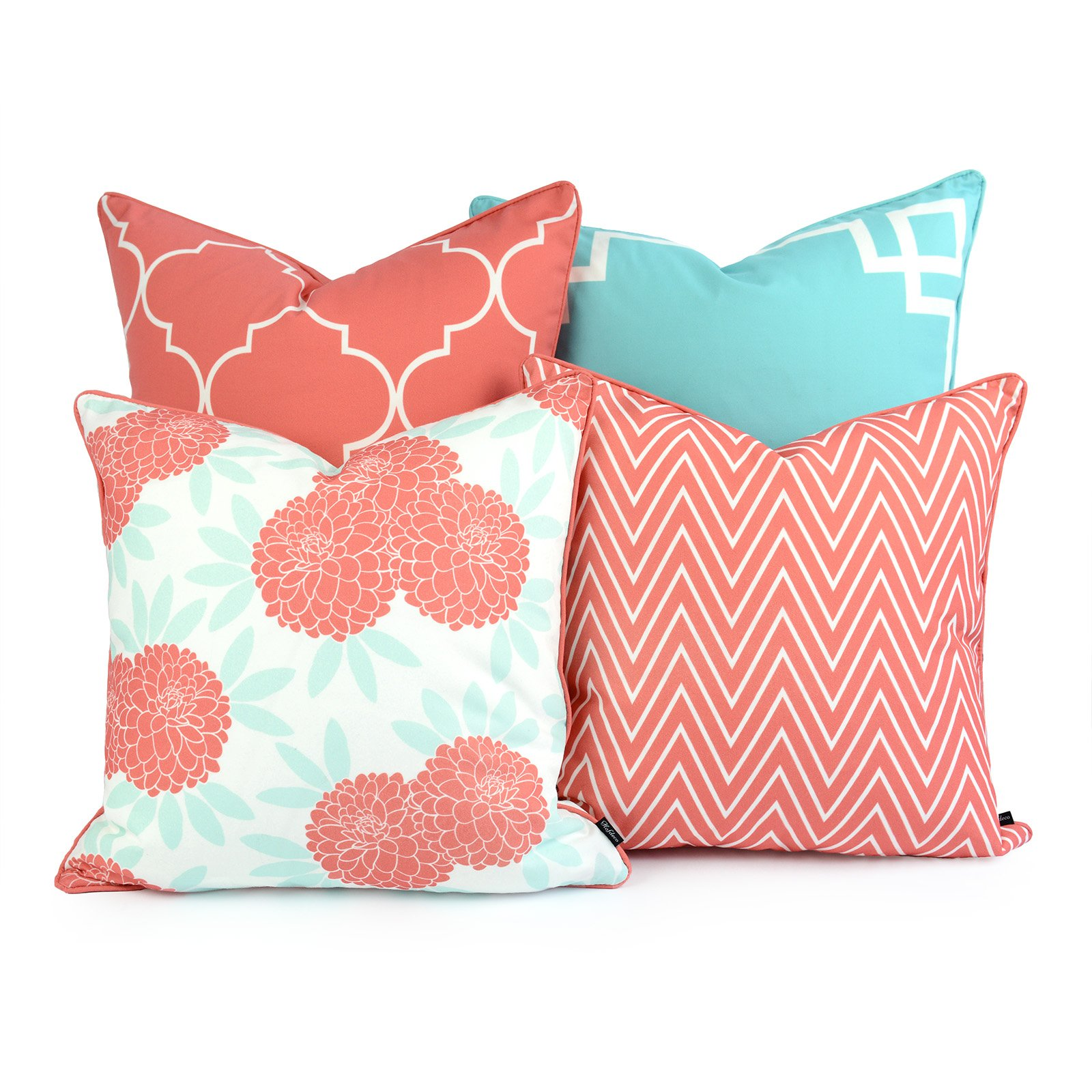 Hofdeco Decorative Throw Pillow Cover INDOOR OUTDOOR WATER RESISTANT Canvas Spring Aqua Coral Pink Greek Key Quatrefoil Chevron Maze Chinoiserie Floral 18''x18'' 20''x20'' Set of 4